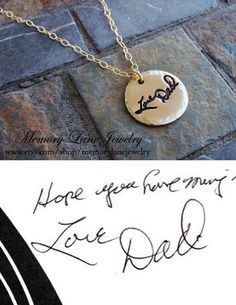 Your Loved One's Handwriting on a Round Pendant w/Cahin by MemoryLaneJewelry - www.etsy.com/shop/memorylanejewelry or www.facebook.com/memorylanejewelry