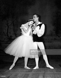 Ballet, 19th January 1956, Monte Carlo, English ballerina Dame Margot Fonteyn is pictured dancing in -Les Sylphides+ partnered by John Gilpin