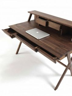 I like the simplicity of the desk design and the placement of all drawers. Perhaps it would be great to not have a desktop on this desk since it would take away from the desk's shape. Office Furniture, Wood Furniture, Modern Furniture, Furniture Design, Furniture Ideas, Desk Inspiration, Furniture Inspiration, Office Table, Table Desk