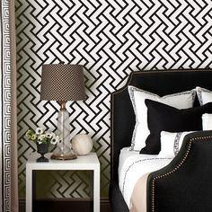 Retro geometrische Muster schwarz abnehmbare Wallpaper  Peel