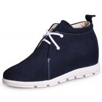 Dark Blue casual elevator shoes increasing height 6.5cm / 2.56inches