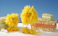 Easter chick craft - Feather boa, Styrofoam egg and balls, dowel, pins, hot glue, google eyes and craft foam sheet.