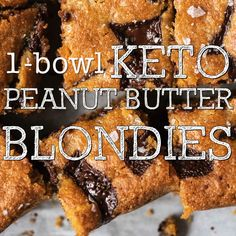 Healthy Dessert Recipes 150378075044821593 - (One Bowl!) Gluten Free & Keto Peanut Butter Blondies Source by janinkas Ketogenic Desserts, Low Carb Desserts, Keto Snacks, Easy Desserts, Low Carb Recipes, Dessert Recipes, Ketogenic Meals, Sugar Free Maple Syrup, Keto Bars