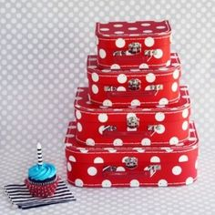 Red Polka Dot Paper Suitcases