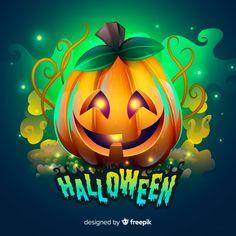 Creepy halloween background with realistic design Free Vector Halloween Poster, Halloween Clipart, Creepy Halloween, Halloween Design, Halloween Gifts, Halloween Pumpkins, Fall Halloween, Happy Halloween, Spooky Pumpkin