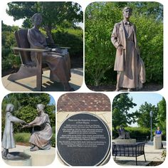 On the opposite side of the river on which the Old Historic Fort replica sits is this life-size grouping of statues honoring three of Allen and Emerine's granddaughters. Top left, Edith, scholar of Greek and Roman mythology. Her classic texts are still used in universities today. Top right, Alice Hamilton, the doctor who reformed unsafe industrial working conditions. Bottom left, Agnes the ARTIST and child advocate. Agnes is the sister of acclaimed artist, Jessie. Greek And Roman Mythology, Granddaughters, Present Day, Jessie, Doctor Who, Statues, Hamilton, Texts, Fairy Tales