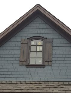 Items similar to AVAILABLE: Cedar Shutters with Decorative Clavos / Cedar Board & Batten Shutter / exterior shutters / stained shutters / board and batten on Etsy Siding Colors, Exterior Paint Colors For House, Paint Colors For Home, Cabin Exterior Colors, Café Exterior, Exterior Design, Exterior Shutters, Exterior Remodel, Bungalow Exterior