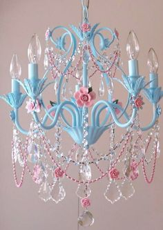 Turquoise and Pink Chandelier by A Vintage Room Super Girly, but cute. I for sure want a chandelier!
