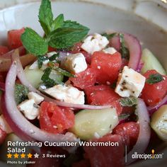 "Refreshing Cucumber Watermelon Salad | ""I make this for all of my summer picnics, a huge hit!"""