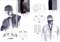 Fashion Sketchbook - fashion illustrations & fabric layout; fashion student portfolio // Katarina Lindell
