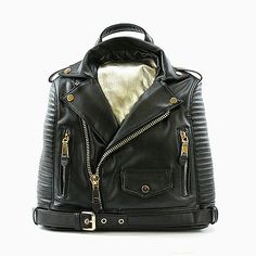 """Vegan leather moto jacket backpack. Fully lined with zipper pockets. Measures 14""""x8""""x4.5""""  Item ships in 3 Business days, free shipping to the U.S."""