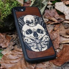 iPhone 8 Case X 7 6 Plus SE 5 4 Engraved Black Wood Phone Cover Gift Unique Custom Personalized Wooden Protective skull