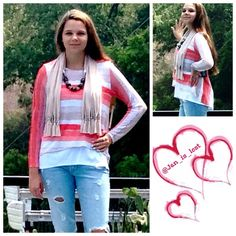Knit Top S,M,L,XL Light weight knit top that is lined.  Has the open drape back but you don't have to worry about hiding your bra because of the white lining.  Beaded scarf is an extra added gift just to complete the look.  Material is a viscose blend. Tops Blouses
