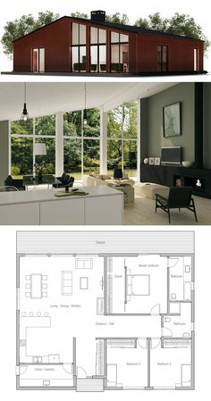 Small House Plan--I love this, but would change the bathrooms. The master bath I would like to contain a shower that's easy to get in and out of and would change the little shower in the hall bathroom to a tub.