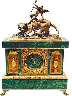 Malachite Clock «Allegory of love»