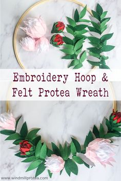 Today I will show you how to make a Protea Wreath from felt, polystyrene craft balls and an embroidery hoop. It is an easy project. Easy Projects, Garden Projects, Large Embroidery Hoop, Diy Birthday, Birthday Board, Pastel Home Decor, Home Crafts, Diy Crafts, Pastel House