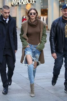 While in Milan for Fashion Week, Gigi Hadid swapped out skinny jeans for this surprising look.