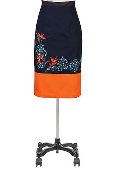 I <3 this Tropical floral embellished pencil skirt from eShakti available in plus size