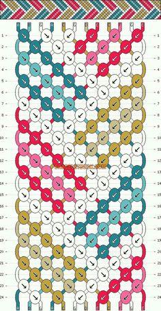 Embroidery Bracelets Ideas chevrons geometric stripe basketweave friendship bracelet pattern - seven 7 color DIY String Bracelet Patterns, Embroidery Bracelets, Bracelet Fil, Bracelet Crafts, Bracelet Making, Floss Bracelets, Macrame Bracelets, Knotted Bracelet, Macrame Knots