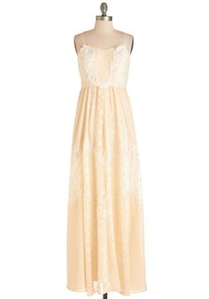 Yes and Glow Dress - Long, Woven, Lace, Cream, Lace, Special Occasion, Prom, Wedding, Bride, Vintage Inspired, Pastel, Maxi, Spaghetti Straps, Crochet