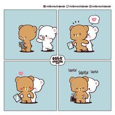 Cute Couple Comics, Cute Couple Cartoon, Cute Comics, Cute Panda Drawing, Cute Bear Drawings, Cartoon Drawings, Cute Love Memes, Cute Love Gif, Doodles Bonitos