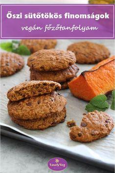 Őszi sütőtökös finomságok vegán főzőtanfolyam Muffin, Vegan, Cookies, Breakfast, Desserts, Food, Diet, Crack Crackers, Morning Coffee
