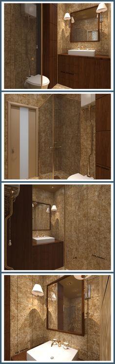 Душевая расположена при входе в квартиру, и она так же выполняет роль гостевого санузла. В дизайне присутствует некоторое «ощущение отеля», благодаря золотым деталям, настенным бра и довольно темной атмосфере помещения, что отнюдь не исключает, а наоборот добавляет уюта и комфорта. #интерьердизайна #интерьер #дизайн #3dmax #vray #interiordesign #interior #design #дизайнинтерьера #дизайнквартиры #дизайнпроект #ванна #bathroom #home #душ #душевая