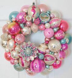 Pastel Christmas ornament wreathe