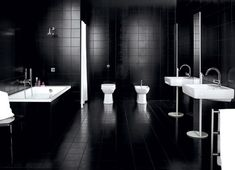 Deluxe Black Bathroom Idea With Black Wall Paint Color And Double White Toilet Also Double Stylish Sink And Calm Faucet Design And Awesome Bathtub Also Tub