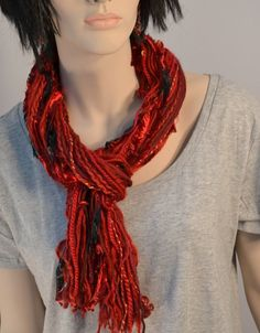 Red Fringe Scarf Long 6 feet long String scarf by KnotWyrd on Etsy, $20.00