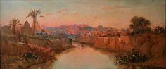 Algérie - Peintre Français Maxime NOIRÉ (1861-1927), huile sur toile , Titre: Oued M'sila , Bou-saada