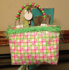 Hot Pink and Lime Plaid Purse with Lime Frilly by mishacoledesigns, $10.00
