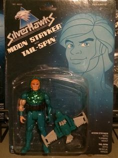 Moon Stryker with Tail-Spin from the SilverHawks line of action figures from Kenner. These are part of my personal collection of toys.
