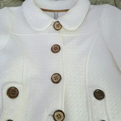 White & Gold/Bronze Accent Blazer, Oh Yes Brand Soft Cotton Fabric with Big Front Buttons Jackets & Coats Blazers