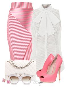 """""""Pink"""" by ccroquer ❤ liked on Polyvore featuring Jane Norman, L'Wren Scott, KG Kurt Geiger, Chanel and Kate Spade"""