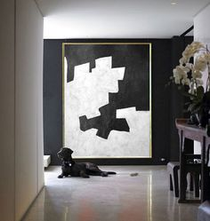 Black And White Painting Minimalist Art, Large Canvas Art. Abstract Painting, Modern Art Geometric Art. Hand Painted Acrylic Painting.