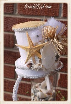 Seaside Beach Wedding Bridal Headpiece Top Hat by GoosieGirlEtsy, $48.00