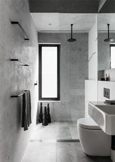The renovation design of an Australian house - PLANETE DECO has homes world Article Gallery Ideas] Black Bathroom Taps, Modern Bathroom, Bathroom Marble, Concrete Bathroom, Small Bathrooms, Modern Shower, Black Bathrooms, Luxurious Bathrooms, Glass Bathroom
