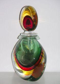 Silvano Signoretto Rare Ovoid Murano Glass Large Sized Bottle at www.cosulichinteriors.com