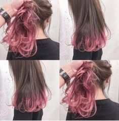 46 Ideas Hair Color Balayage Short Ombre For 2019 Hair Color Pink, Cool Hair Color, Purple Hair, Korean Hair Color Ombre, Ombre Color, Purple Peekaboo Hair, Short Hair Colour, Pink Hair Tips, Purple Ombre