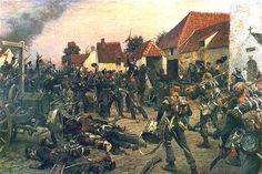 Ricongiungimento di forze olandesi e prussiane alla tenuta della Papelotte sul campo di battaglia di Waterloo