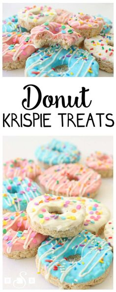 Donut Krispie Treats - Butter With A Side of Bread Donut Birthday Party Food Ideas Rice Crispy Treats, Krispie Treats, Yummy Treats, Sweet Treats, Rice Crispy Cake, Donut Birthday Parties, Donut Party, 2nd Birthday, Birthday Treats For School
