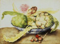 artichoke art | Giovanna Garzoni - G.Garzoni / Bowl of Artichokes / c.1650