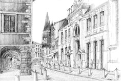 La Rochelle - France. Black ink drawing by Nicolas Jolly. #drawing #ink #blackandwhite #art #village