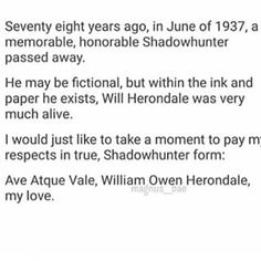 Ave atque vale Will Herondale Shadowhunters Malec, Shadowhunters The Mortal Instruments, Jace Lightwood, Shadowhunter Academy, Will Herondale, Clockwork Angel, Cassie Clare, Baby Acne, Cassandra Clare Books
