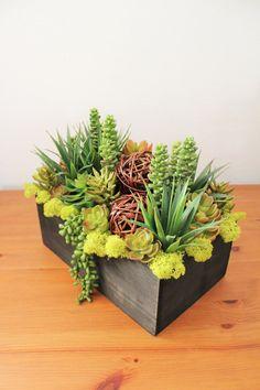 Artificial Succulent Arrangement in a Black Rectangle Wood box It measures approx. 13L x 8.5W x 10.5H