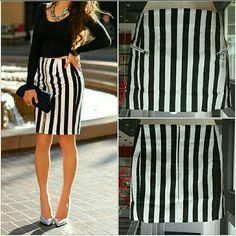 Black and white striped mini skirt NWT Brand new, no tag  Black and white striped mini skirt with silver zipper pockets on sides. Dress it up with heels, a collared shirt and a blazer or statement sneaker, a tshirt and denim jacket!  Zips up in back. Size Medium 95%cotton 5% spandex  (((Models are not wearing actual skirt, style ideas)) Skirts