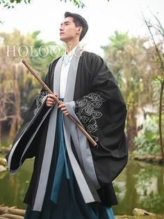 Ancient china clothing Traditional chinese Men Hanfu Cloak Umhang traditionelle Männer Hanfu K Chinese Clothing Traditional, Korean Traditional, Traditional Fashion, Traditional Outfits, Traditional Kimono, Outfit Essentials, Hanfu, Japanese Outfits, Japanese Fashion