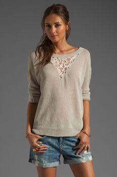 Haute Hippie Pullover Sweatshirt with Lace Inset en Beige Chiné | REVOLVE                                                                                                                                                                                 Plus