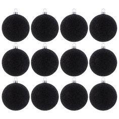 Black Glitter Ball Ornaments
